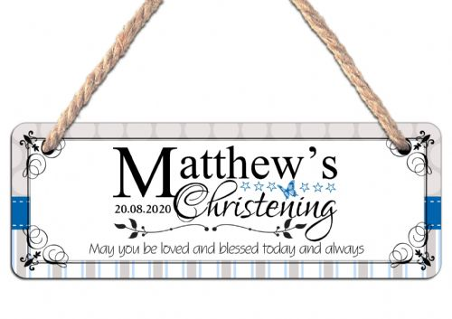 Personalised Christening Hanging Sign N27 Wall or Door Plaque